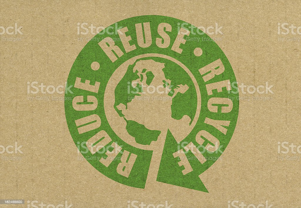Reduce reuse recycle logo with Earth at center stock photo