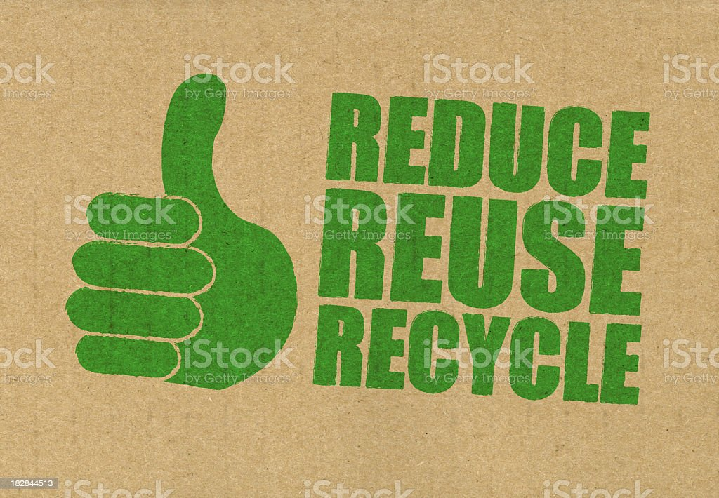 Reduce Reuse Recycle sign printed in green on a brown bag stock photo