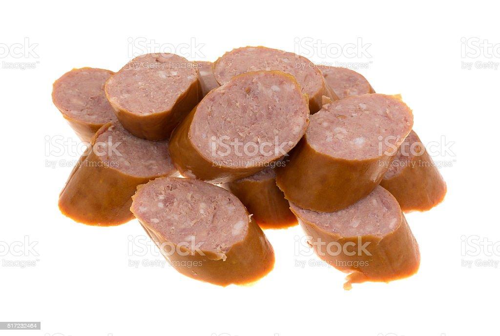 Reduced calorie kielbasa sausage slices stock photo