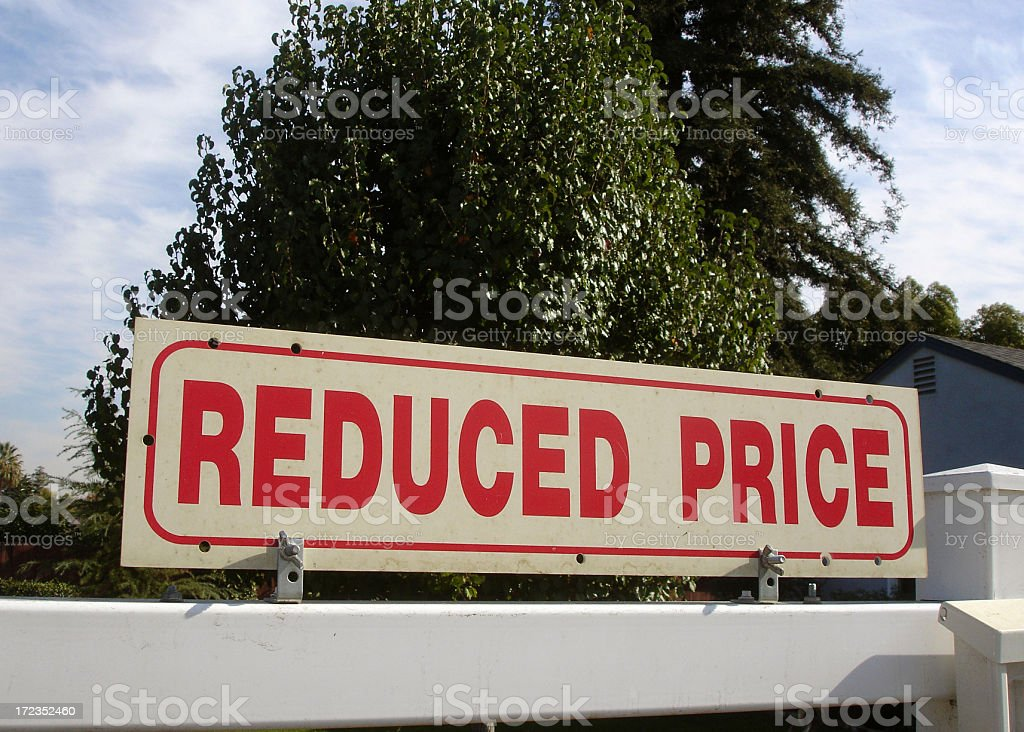 Reduced price California real estate sign royalty-free stock photo