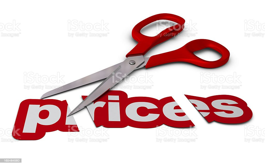 reducing prices, price cutting stock photo