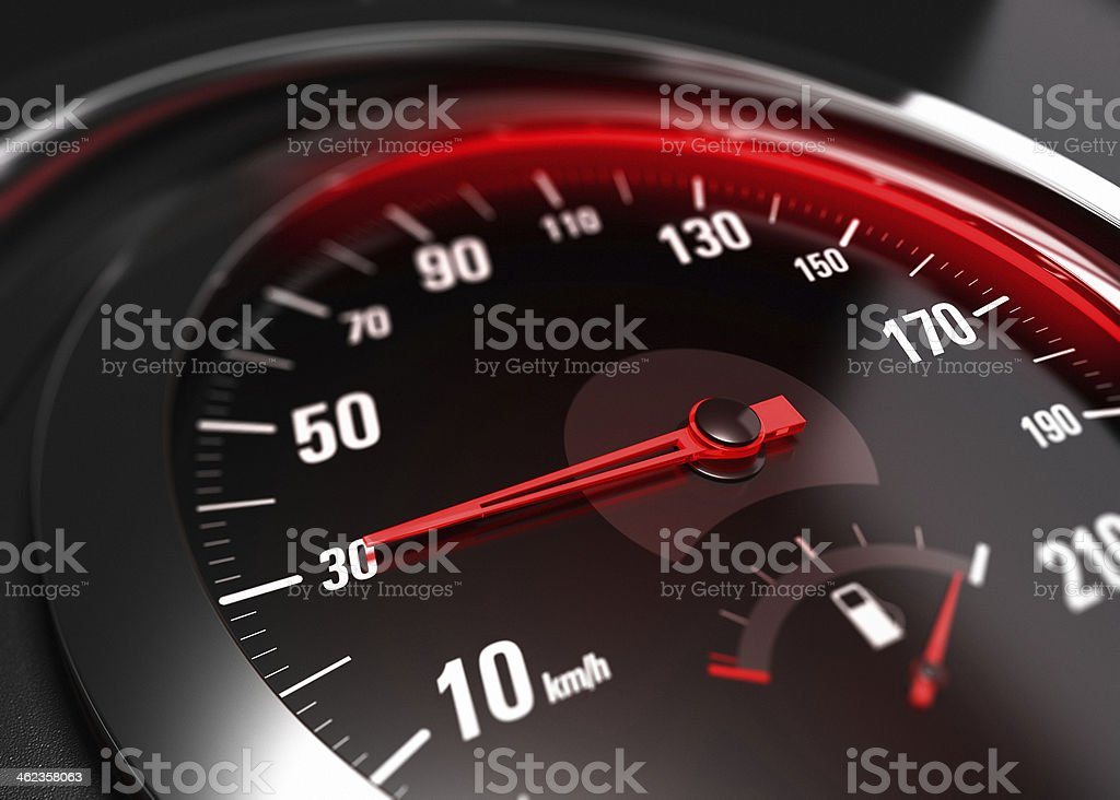 Reducing Speed Safe Driving Concept - 30 Km h stock photo