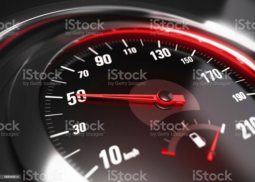Reducing Speed Safe Driving Concept - 50 Km h stock photo