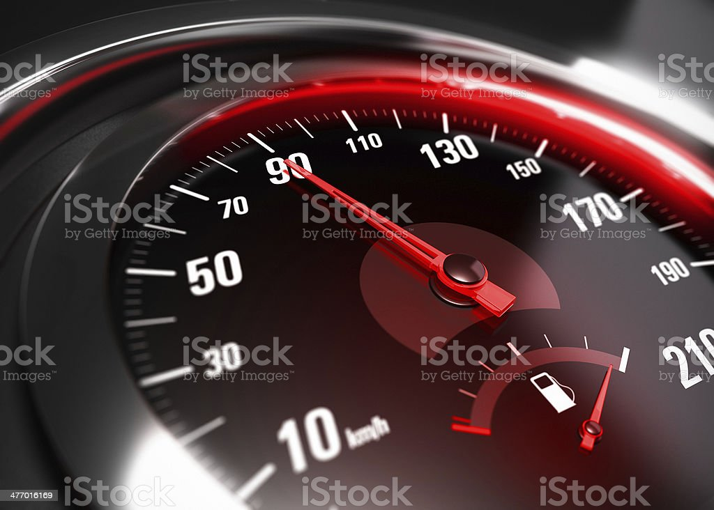 Reducing Speed Safe Driving Concept stock photo