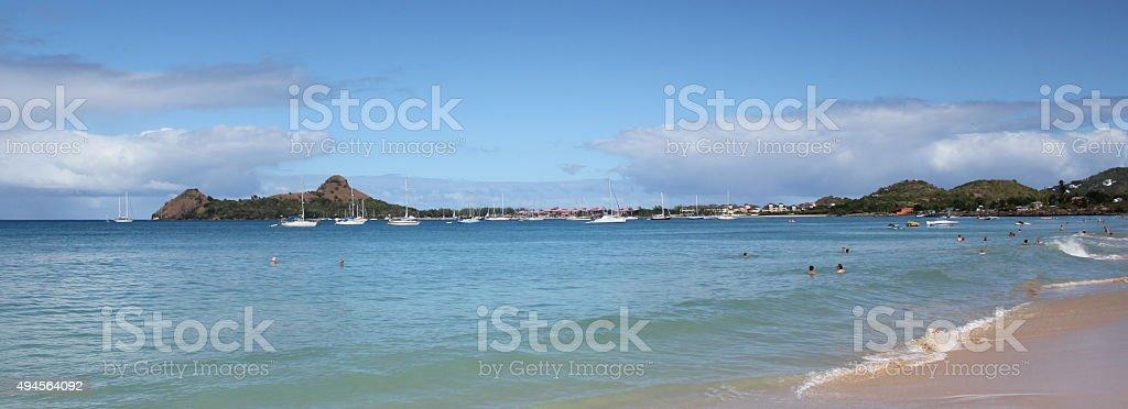 Reduit Beach, St. Lucia stock photo