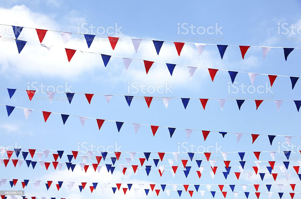 red,white and blue bunting stock photo