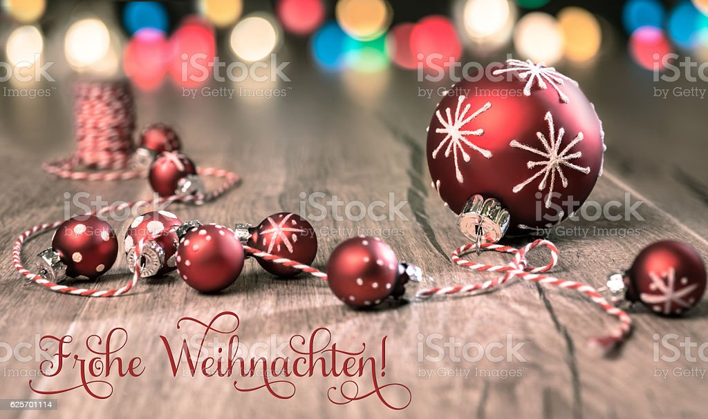Red-white Christmas decorations, text stock photo