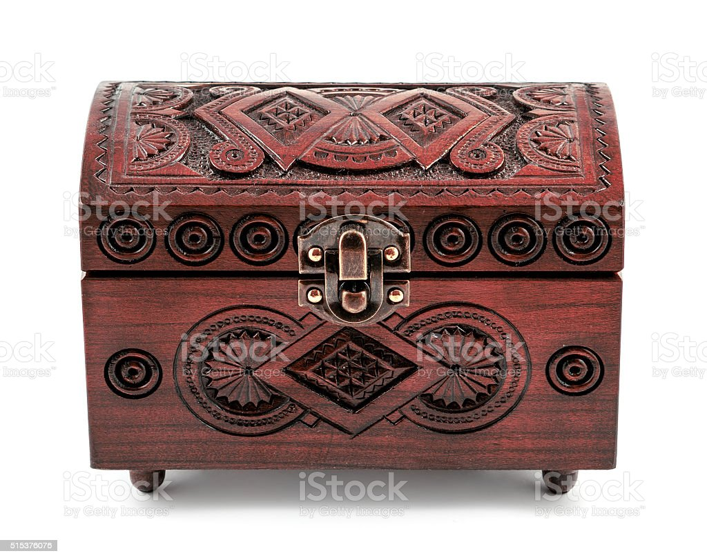 Redwood carved casket handmade isolated on white stock photo