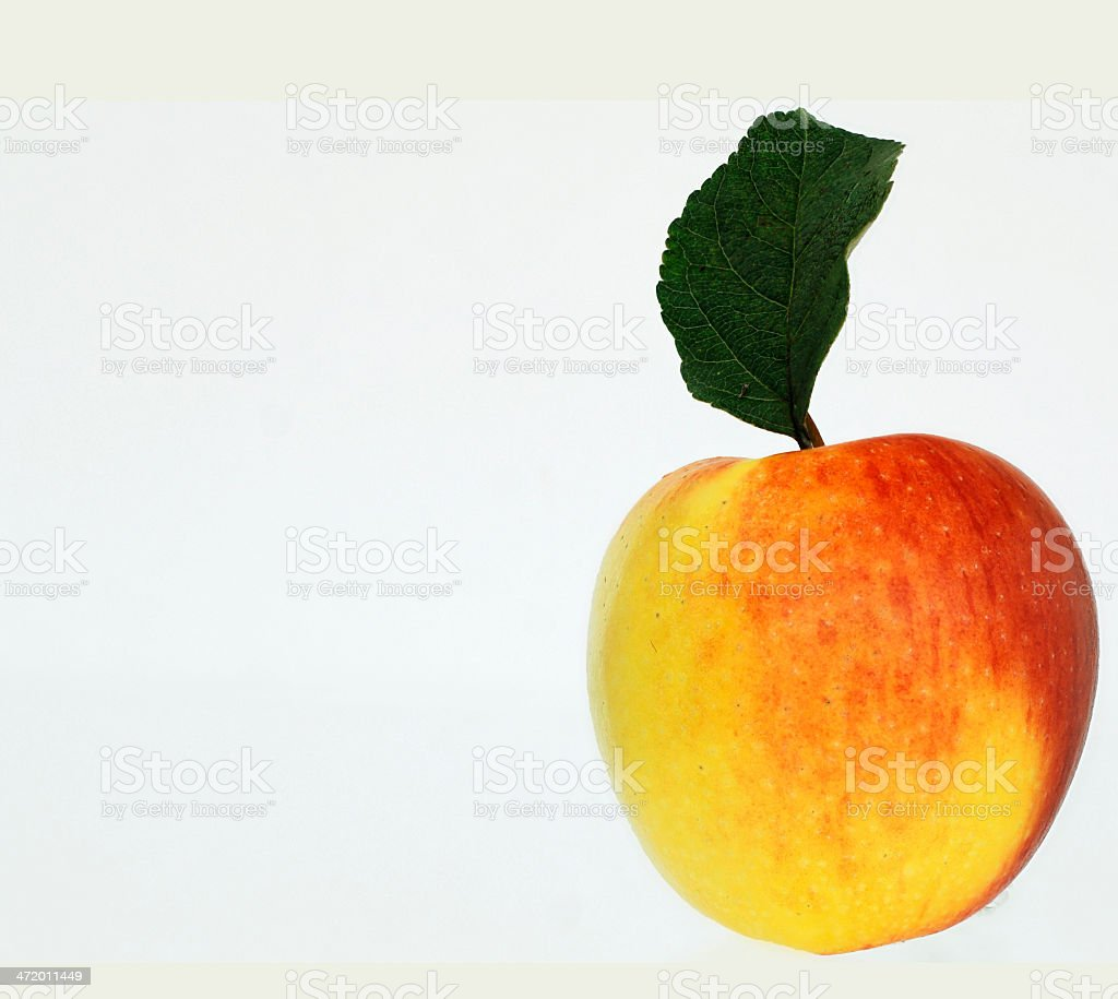 red-yellow apple with leaf Cut stock photo