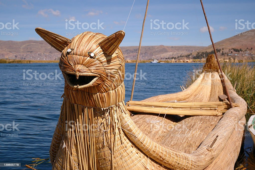 Reed Boat at Uros Islands royalty-free stock photo