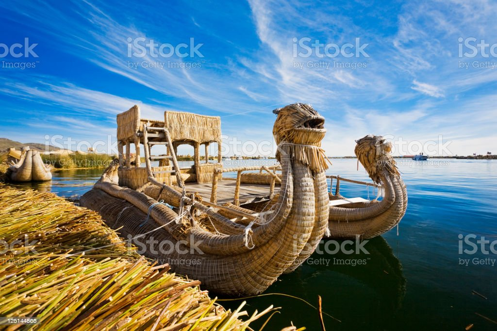 Reed Boat In Lake Titicaca, Peru stock photo
