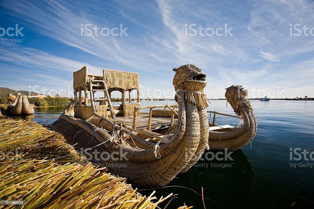 Reed Boat In Puno, Peru stock photo