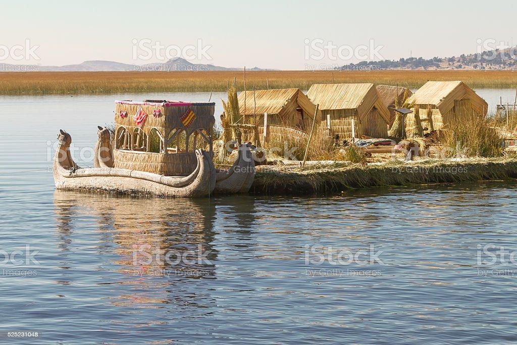 Reed boat on Island of Uros lake Titicaca Peruand Bolivia. stock photo