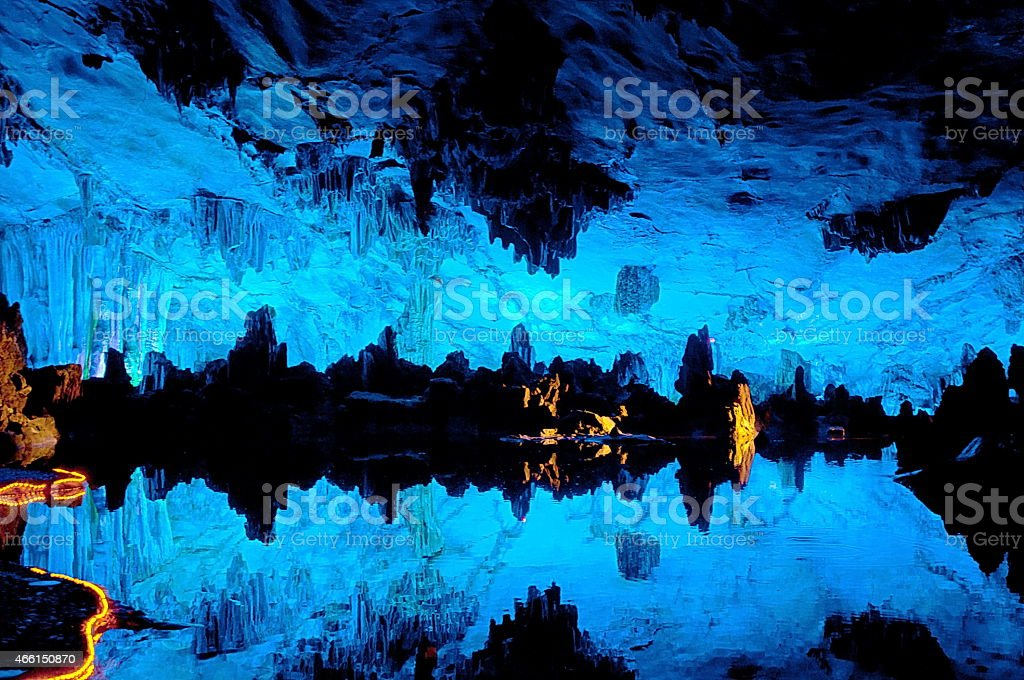 Reed flute cave in Guilin China stock photo