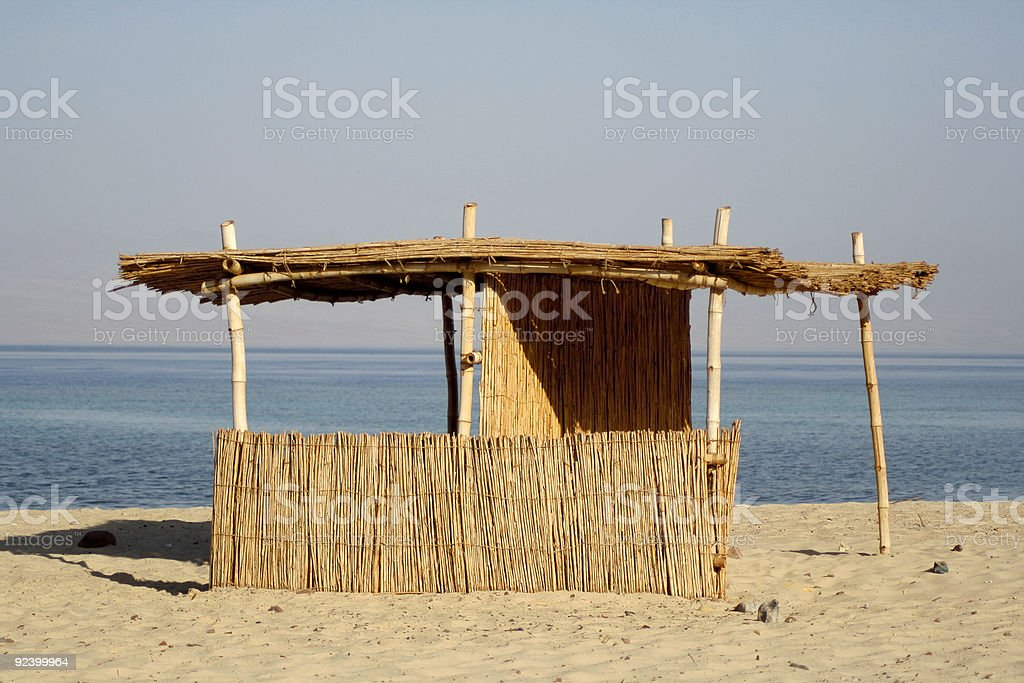reed hut on beach, red sea royalty-free stock photo