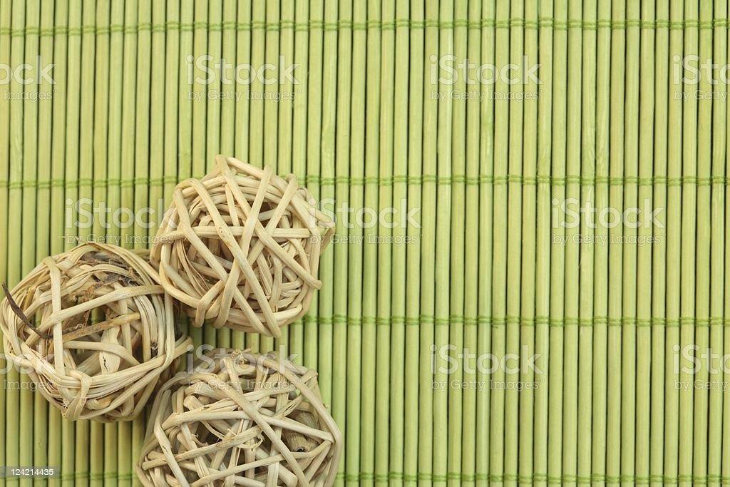 Reed or Bamboo Mat & Balls stock photo