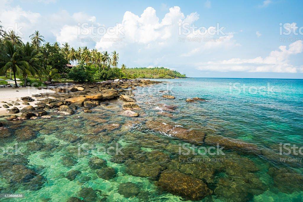 Reef and shallow beach at Koh Kood Island , Thailand stock photo