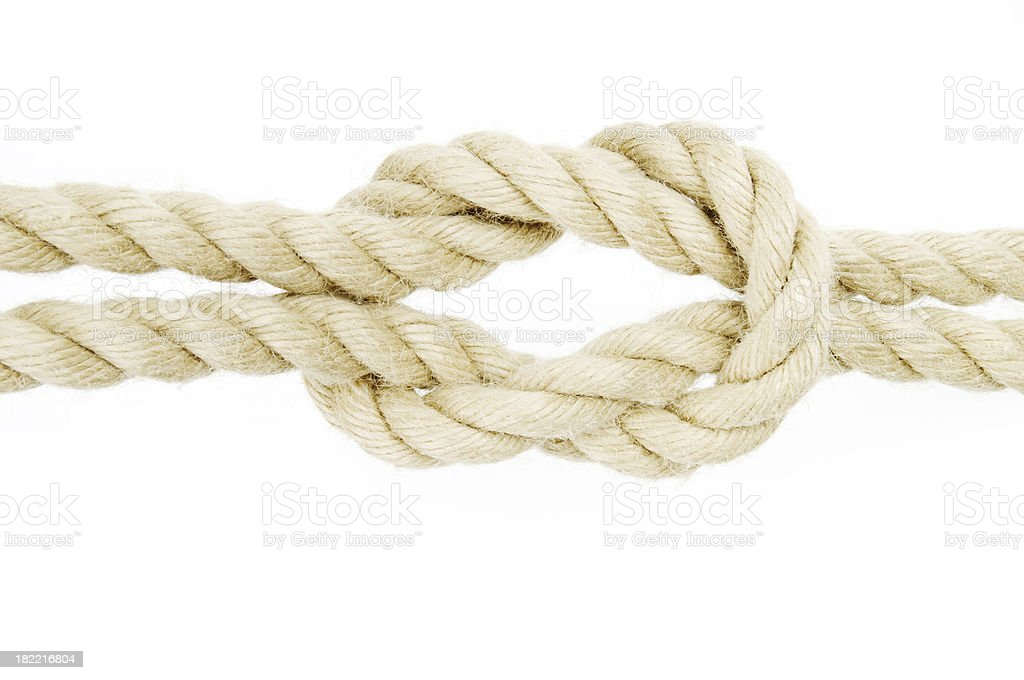 reef knot in a rope royalty-free stock photo