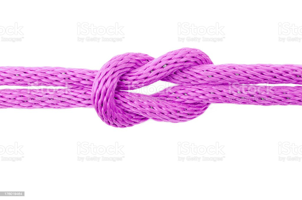 reef knot with a pink rope royalty-free stock photo