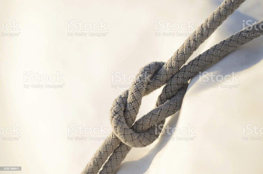 Reef or square knot, used by sailors for reefing sails stock photo