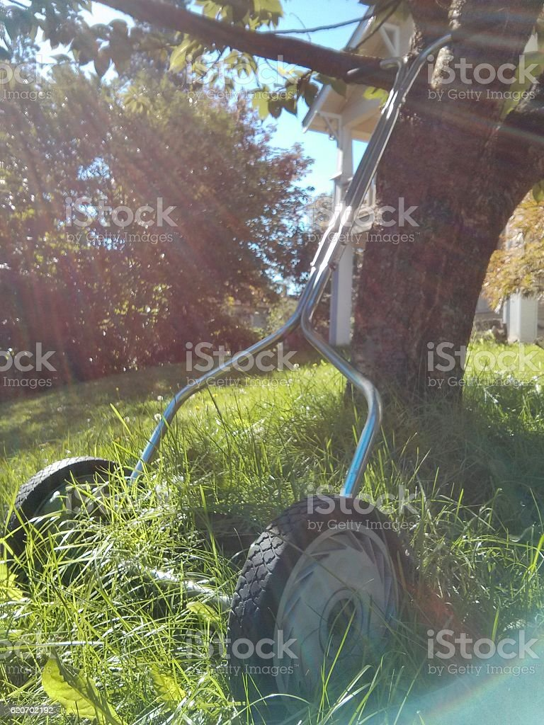 Reel Lawn Mower stock photo