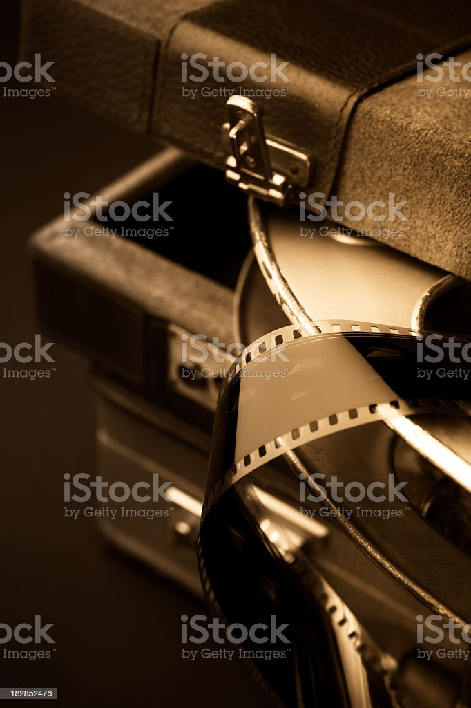 Reel of 35mm Movie Film in a Case stock photo