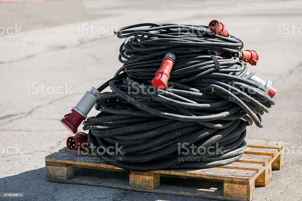 Reel of electric cable stock photo