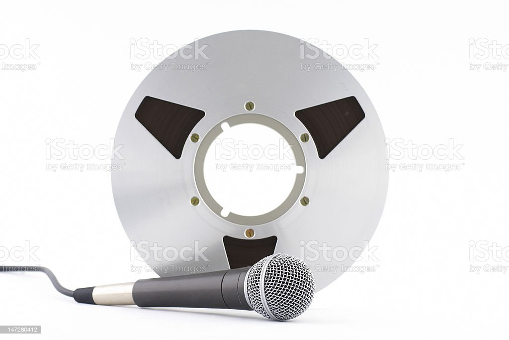 Reel tape and dynamic microphone royalty-free stock photo