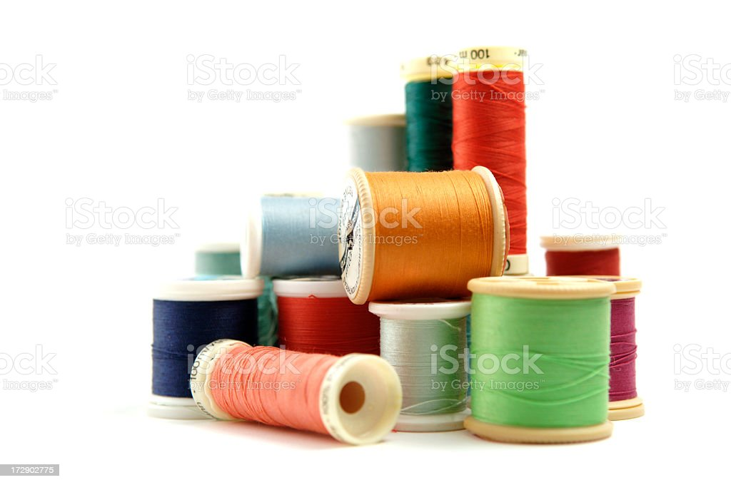Reels of Coloured Sewing Thread stock photo