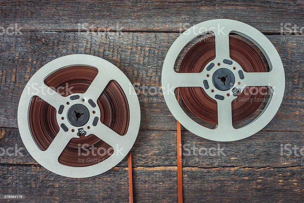 Reels with magnetic recordings stock photo