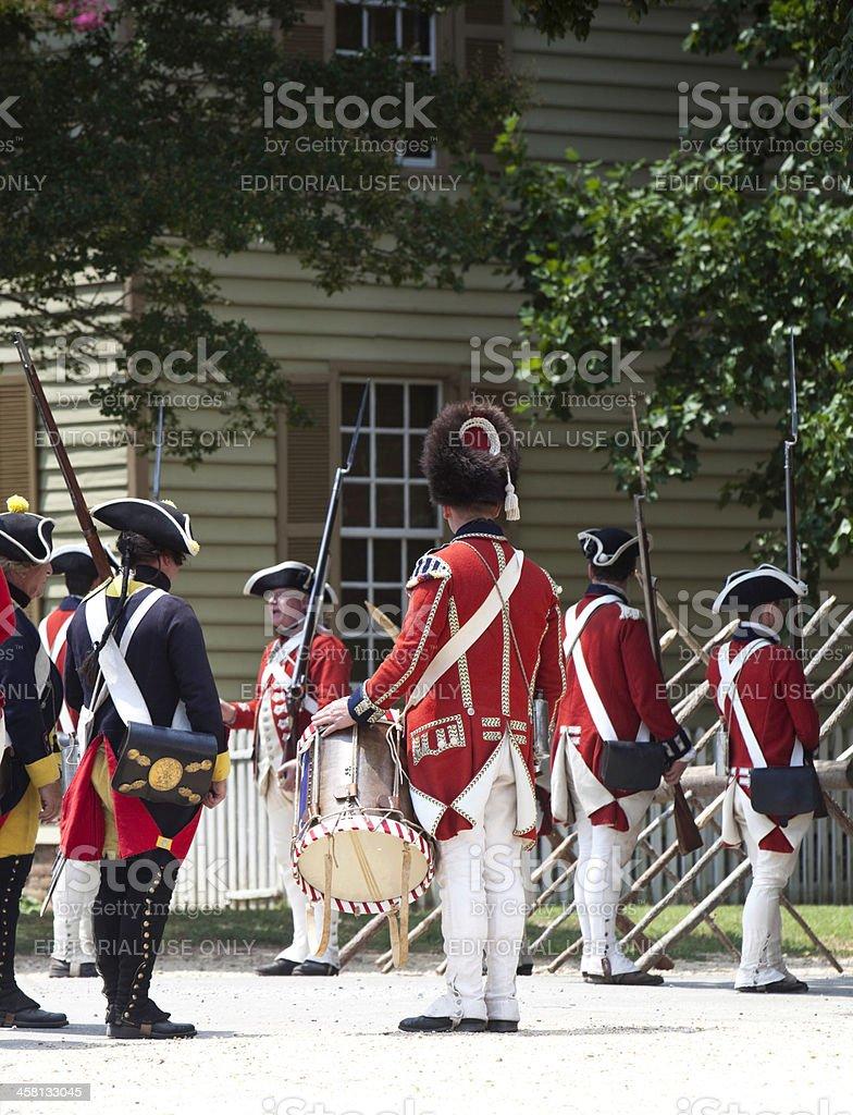 Reenactment of Redcoats Seizing Williamsburg stock photo