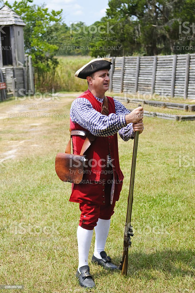 Eighteenth-century British soldier in the colonies royalty-free stock photo