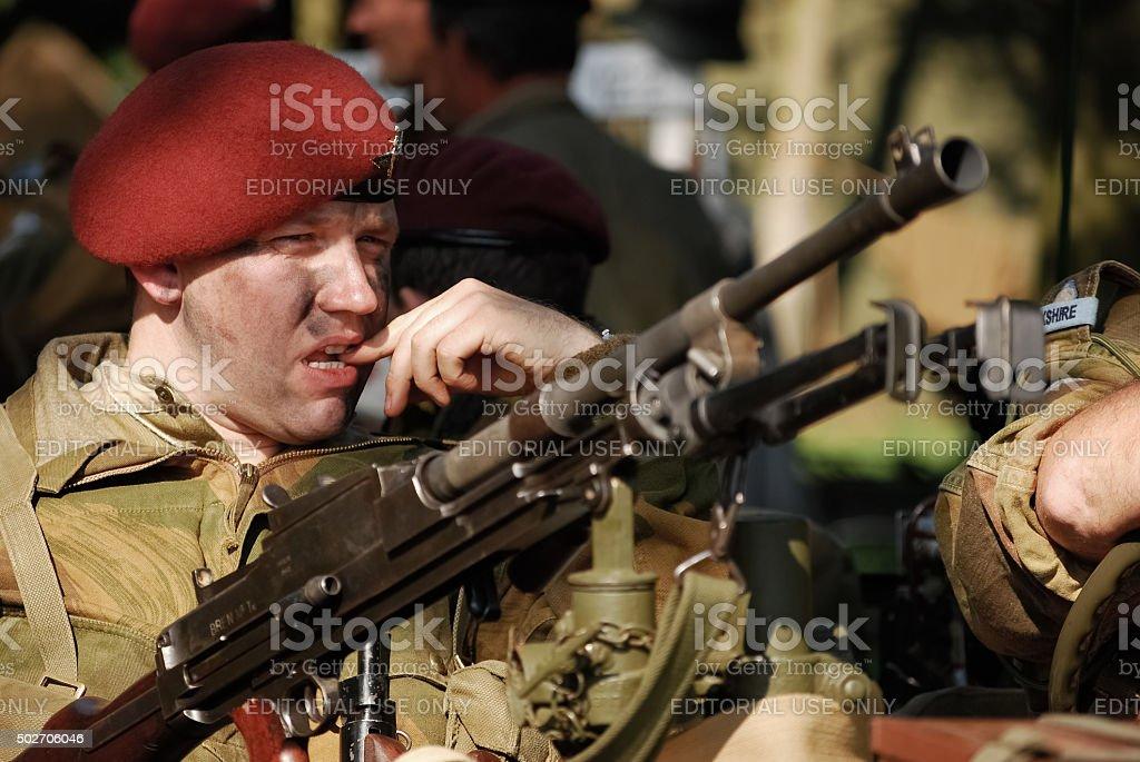 Re-enactor dressed as British Paratrooper stock photo