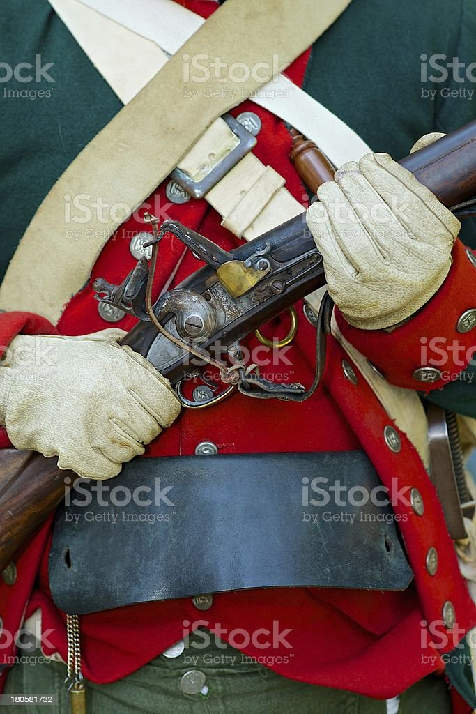 Reenactor of the 4th Continental Light Dragoons stock photo