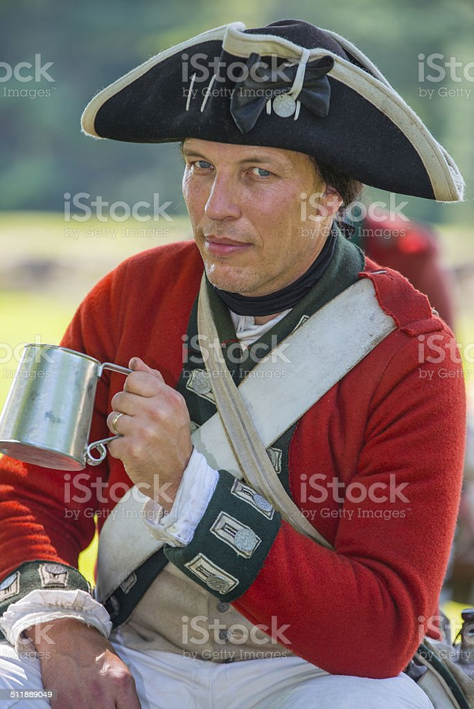 Reenactor Soldier of the American Revolution stock photo