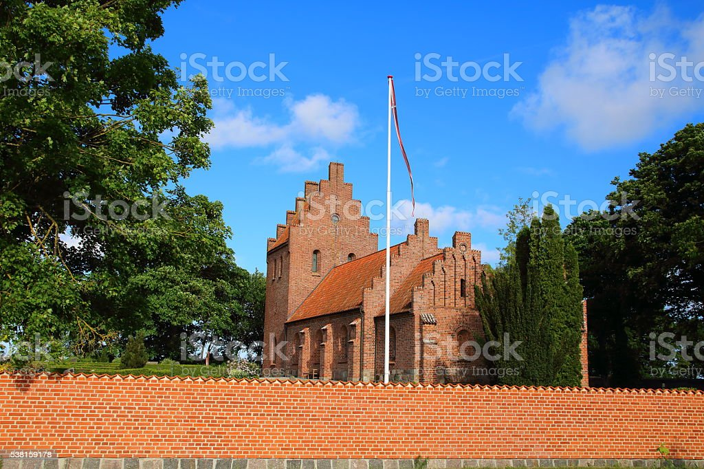 Reerslev Kirke -Romanesque village parish church and cemetary stock photo