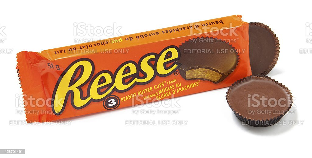 Reese's Peanut Butter Cups Candy Unwrapped stock photo