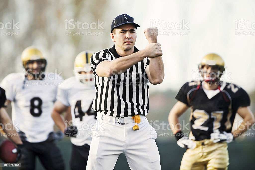 Referee: Illegal Use of Hands. stock photo