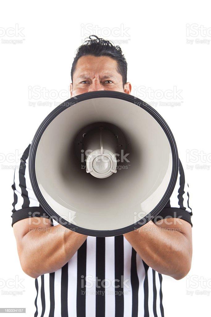 referee pointing megaphone at camera stock photo