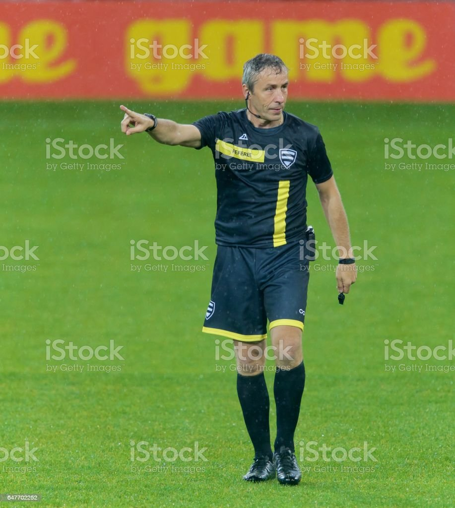 Referee pointing stock photo