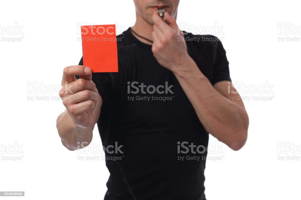 Referee showing red card. Business and sport concept. Exclusion stock photo