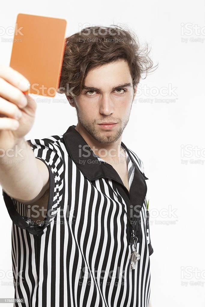 Referee showing the red card stock photo