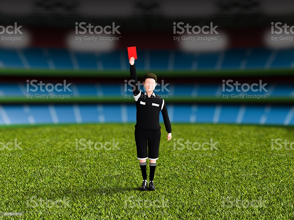 Referee to issue a red card. stock photo