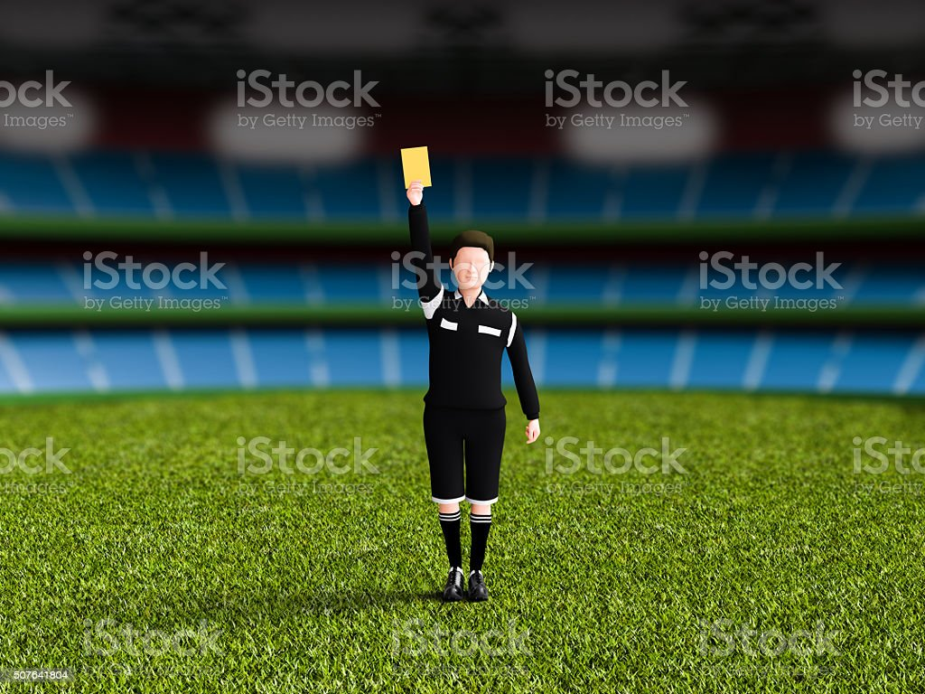 Referee to issue a yellow card. stock photo