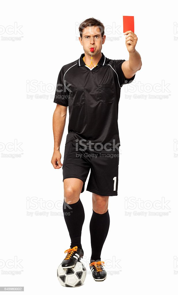 Referee With Soccer Ball Showing Red Card stock photo