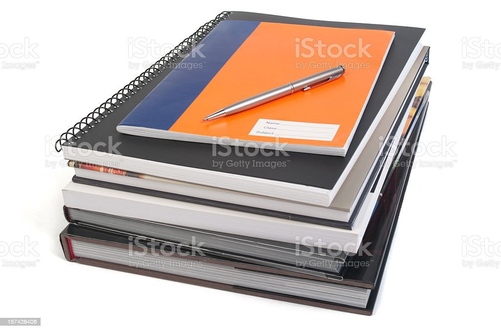 Reference books, notebooks and pen stock photo