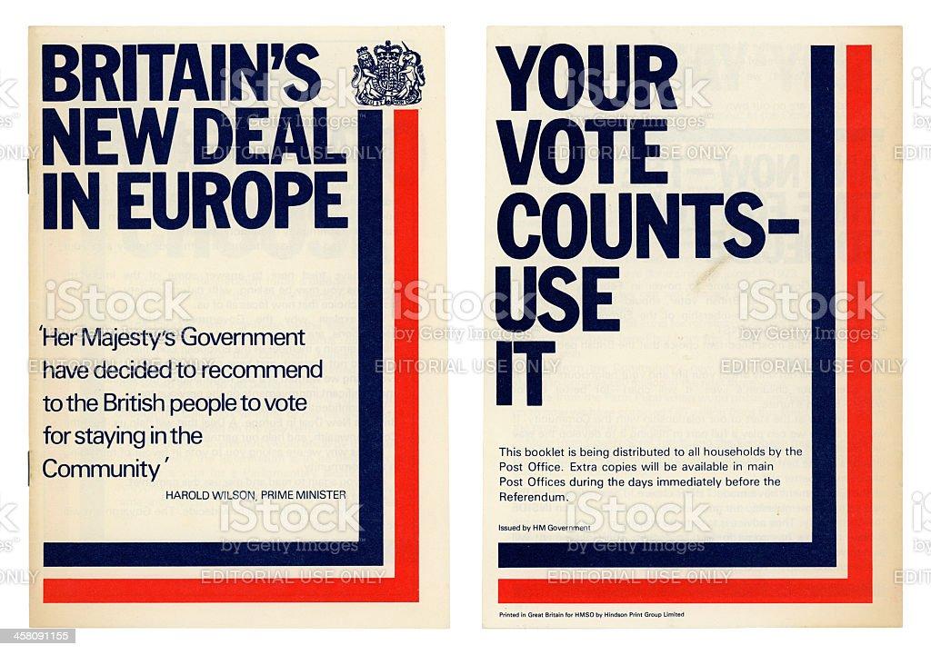 Referendum Britain in European Community booklet, 1975 royalty-free stock photo