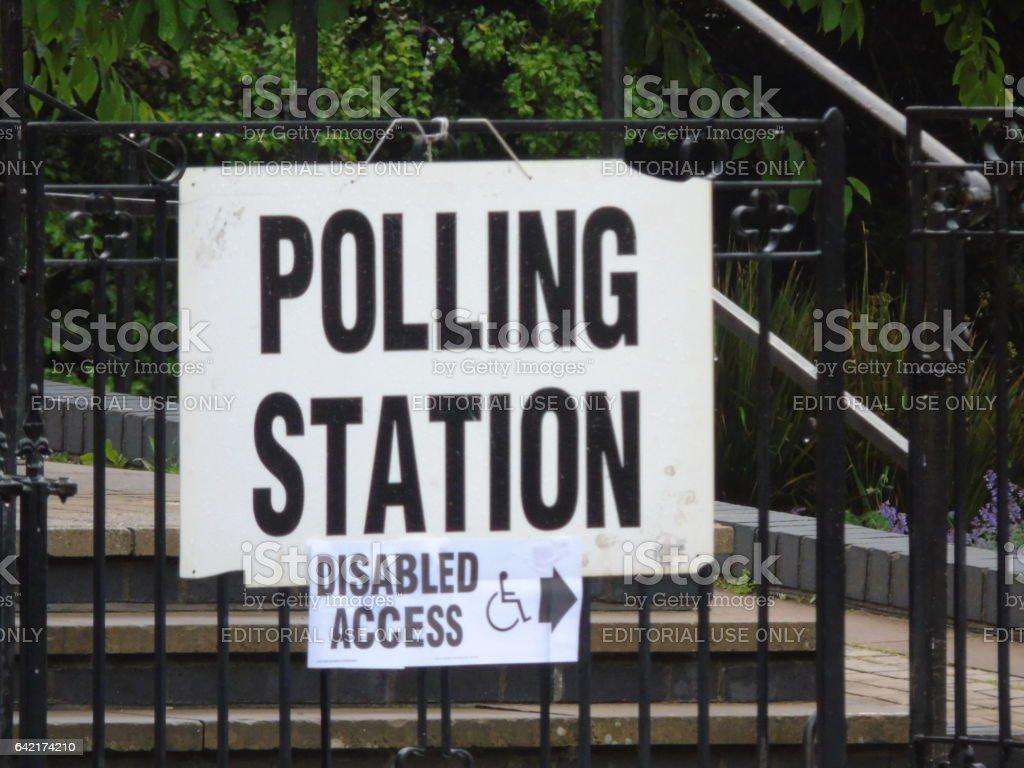 EU Referendum Polling Station Signage on Voting Day stock photo