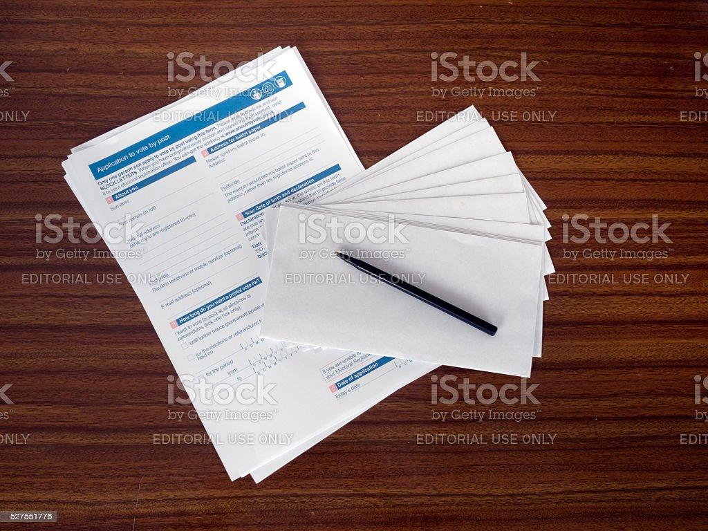 UK EU referendum postal vote applications stock photo