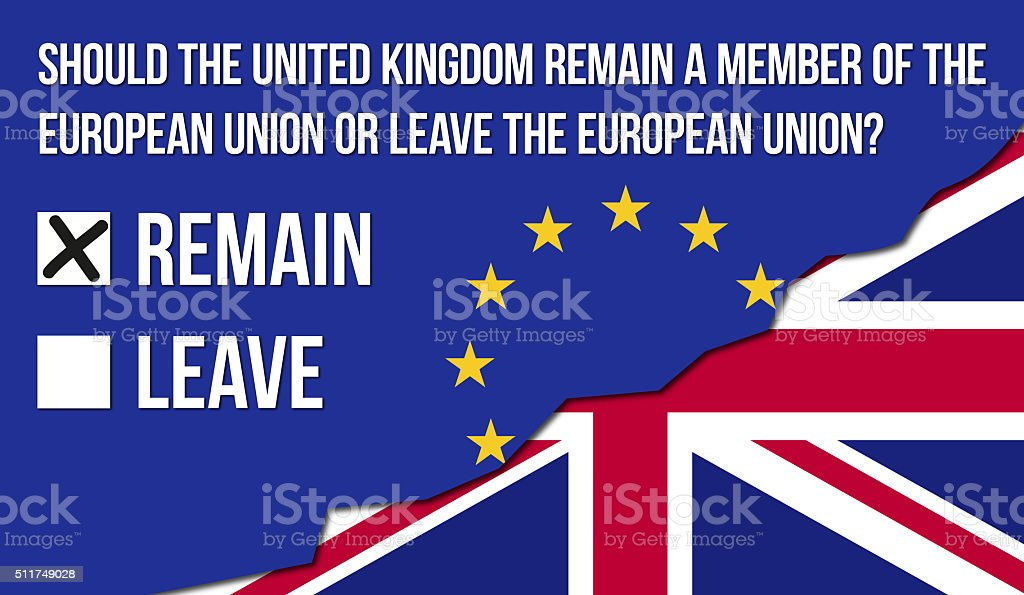 EU Referendum Wording - REMAIN stock photo